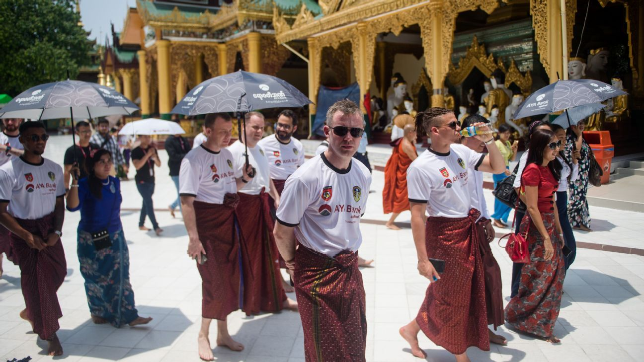Leeds United players in Myanmar at the start of their controversial tour.