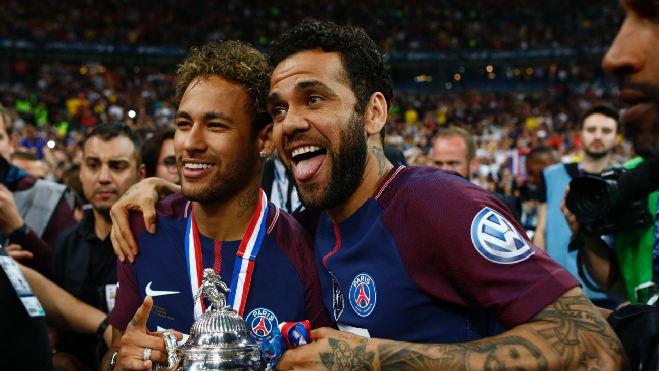 Dani Alves and Neymar both joined Paris Saint-Germain last season.