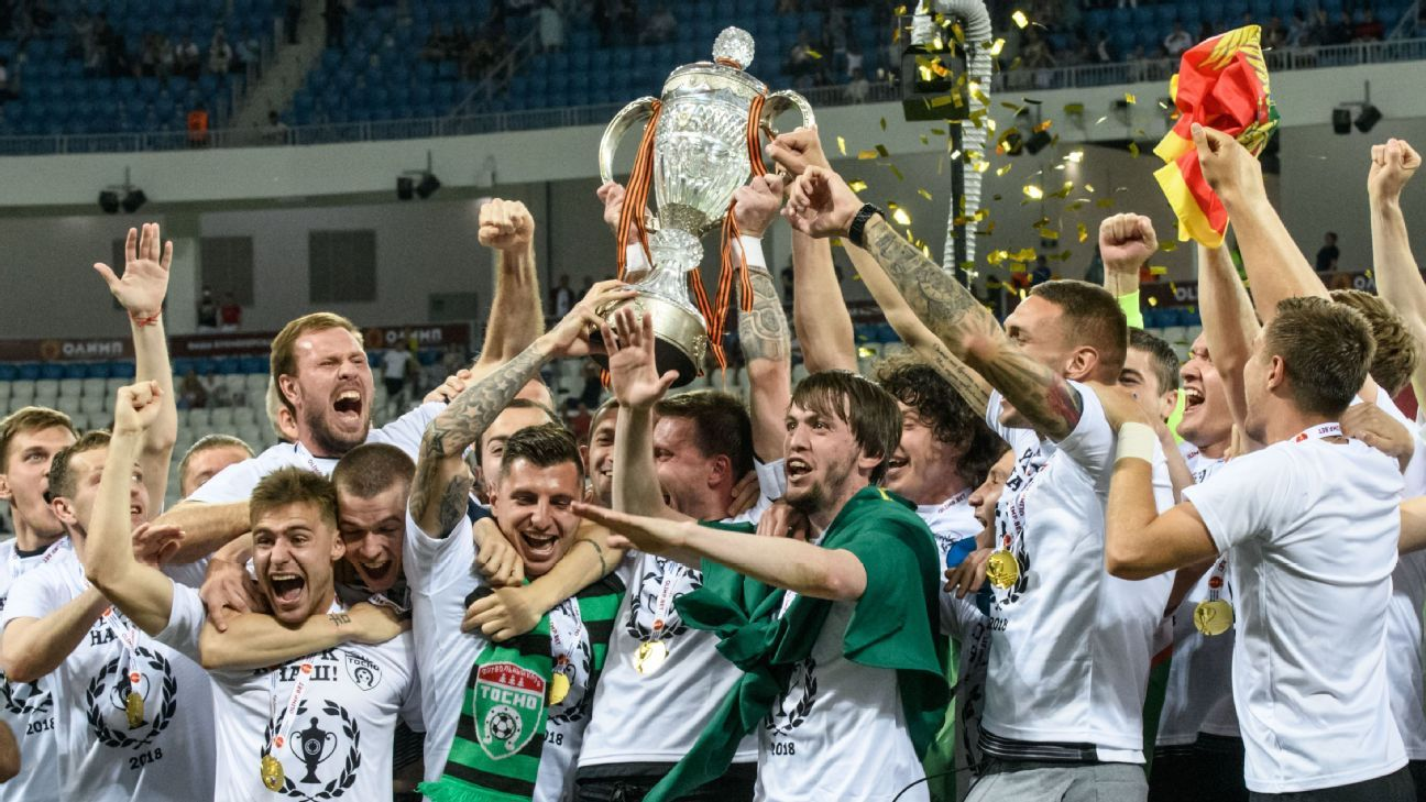 Tosno celebrate their Russian Cup win.