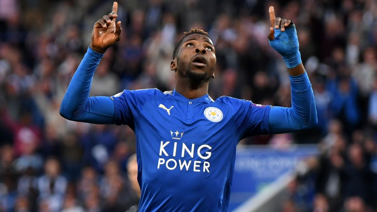 Kelechi Iheanacho celebrates after putting Leicester in front.