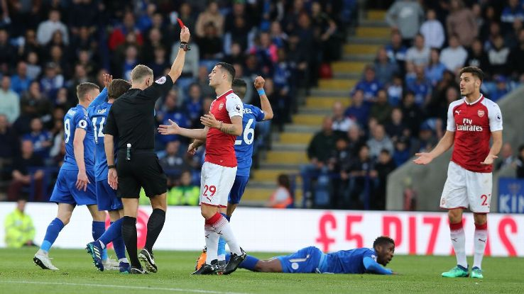 Young Konstantinos Mavropanos (r) saw red for Arsenal against Leicester.