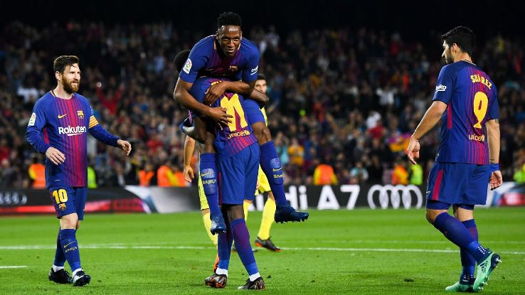 Barcelona celebrate after Ousmane Dembele scored.
