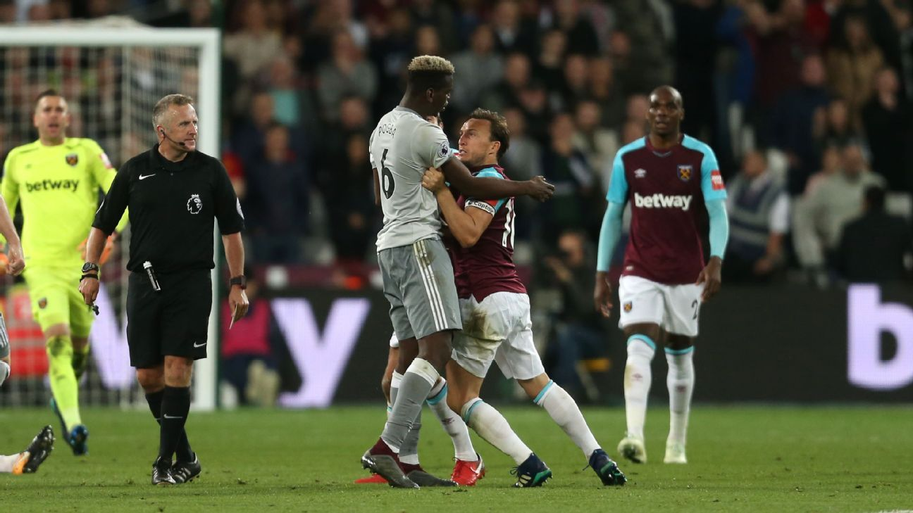 Paul Pogba and Mark Noble clashed during Manchester United's Premier League game against West Ham.