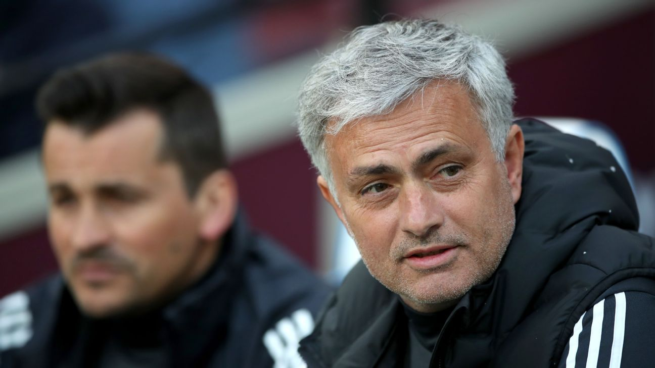 Manchester United manager Jose Mourinho looks on during the Premier League match at West Ham.