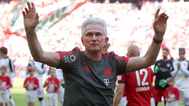 Jupp Heynckes, coach of Bayern Munich, shows appreciation to the fans prior to his final game