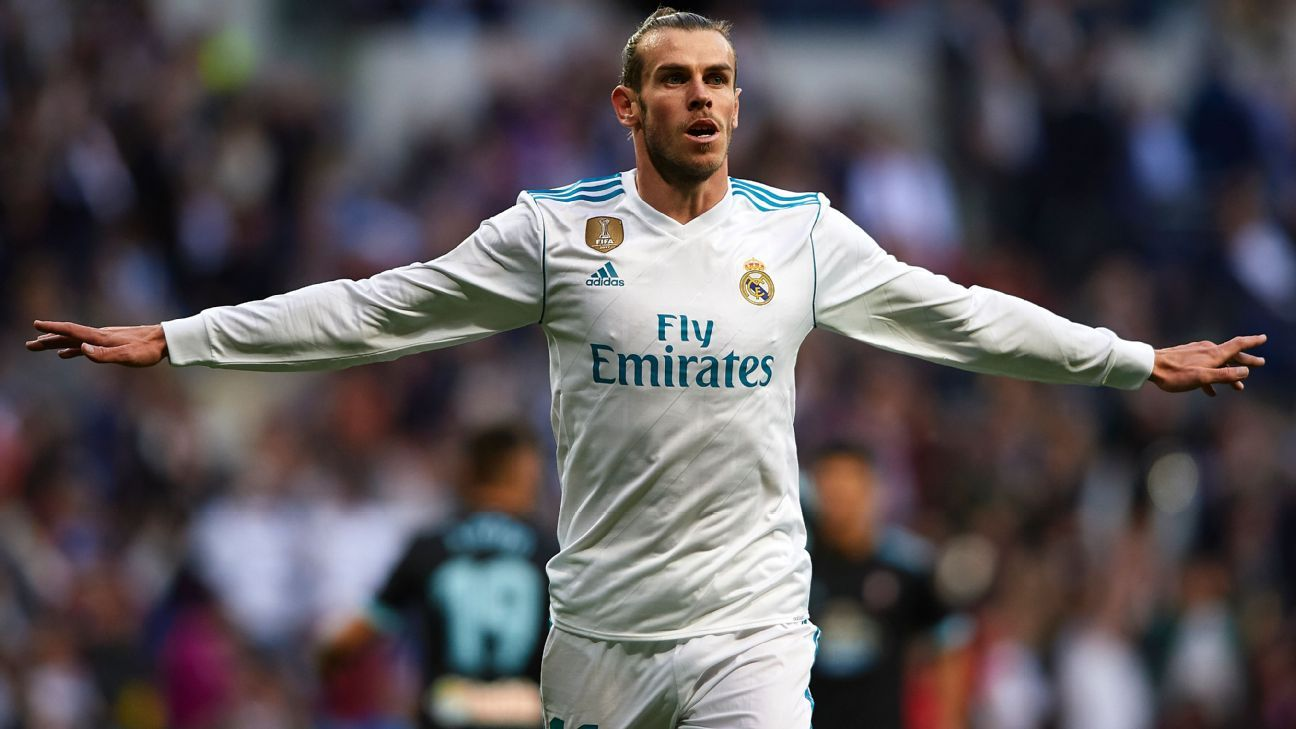Gareth Bale of Real Madrid celebrates scoring his team's first goal.