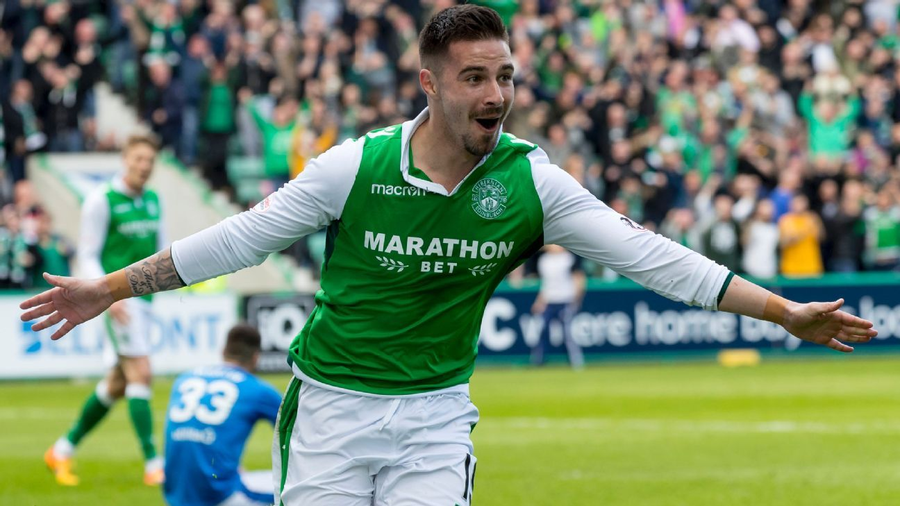 Jamie Maclaren of Hibernian celebrates after scoring.
