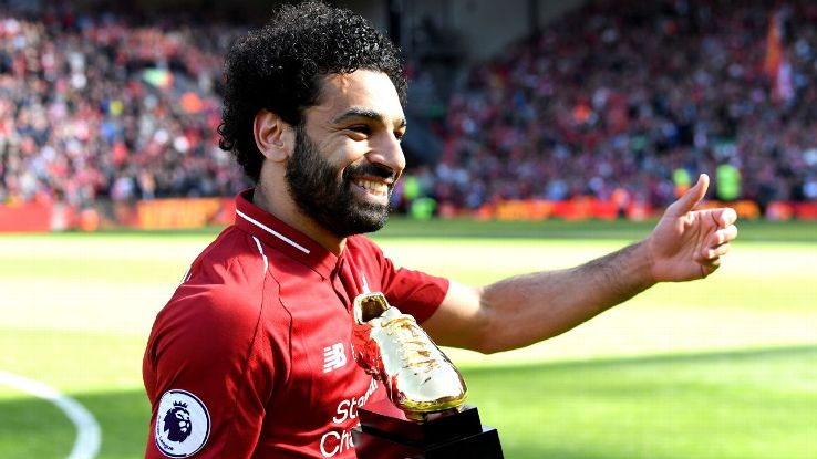 Liverpool's Mohamed Salah with his Premier League Golden Boot award.