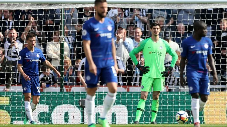Chelsea goalkeeper Thibaut Courtois looks on during his side's 3-0 Premier League defeat at Newcastle.