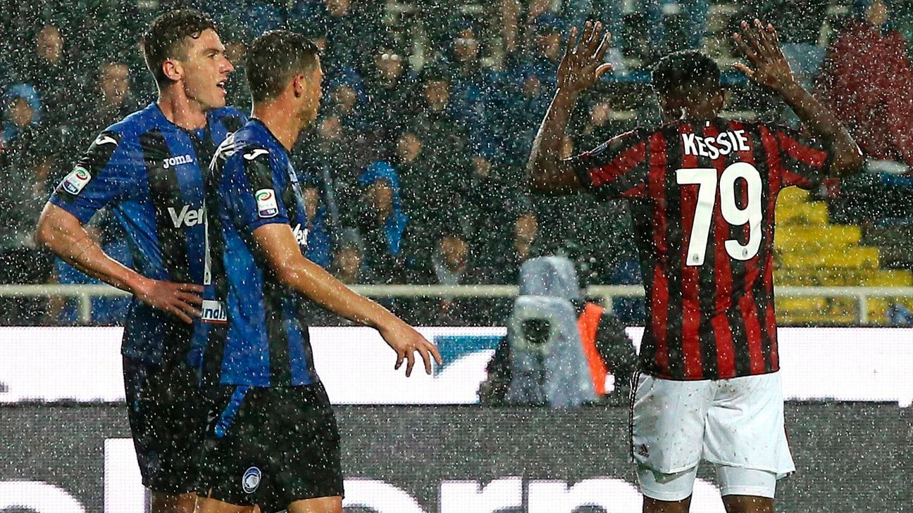 AC Milan's Franck Kessie refuses to celebrate after scoring against his former club, Atalanta.