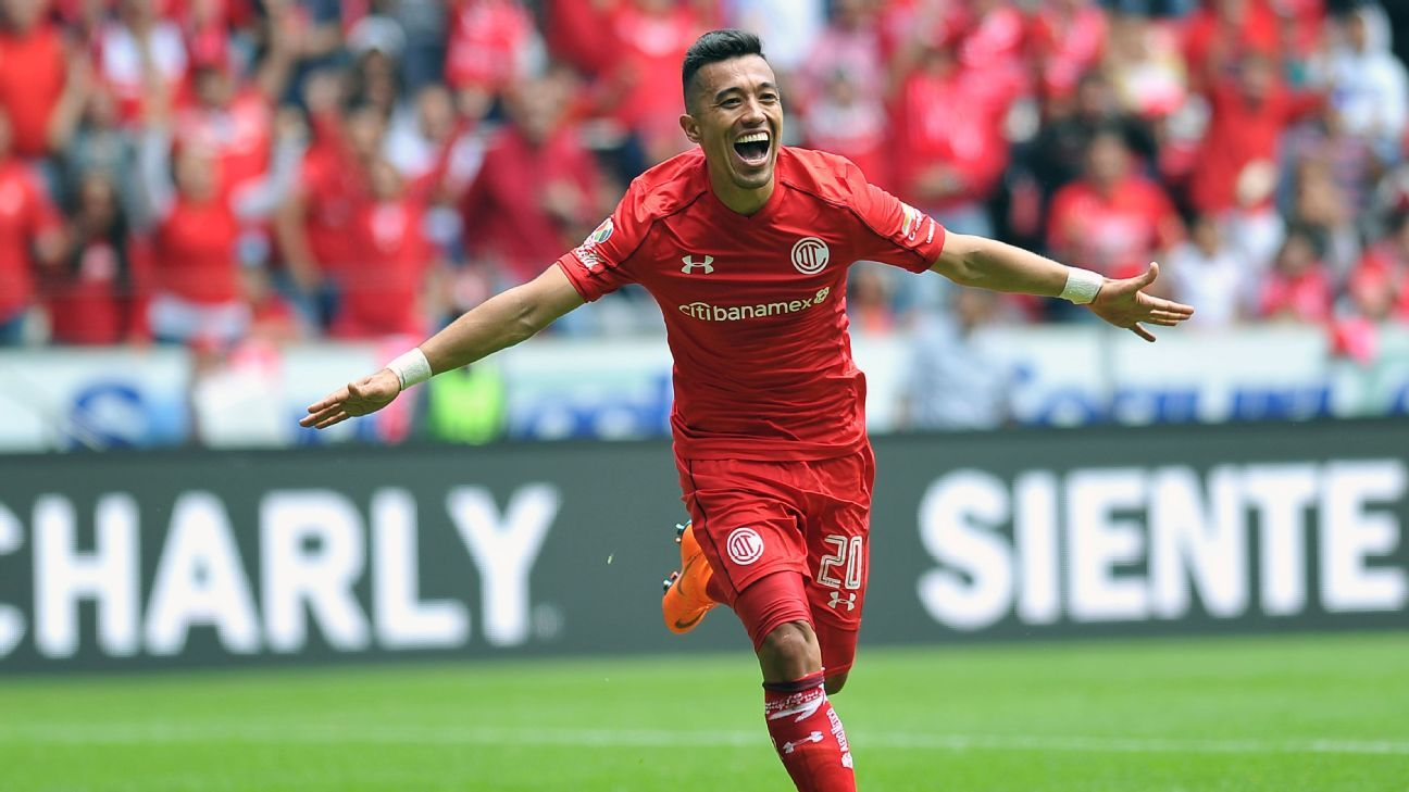 Fernando Uribe of Toluca celebrates after scoring his second goal against Tijuana in a 4-1 win.