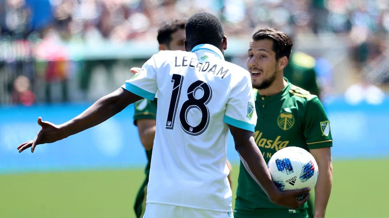Kelvin Leerdam and Sebastian Blanco argue during the Seattle Sounders and Portland Timbers match.