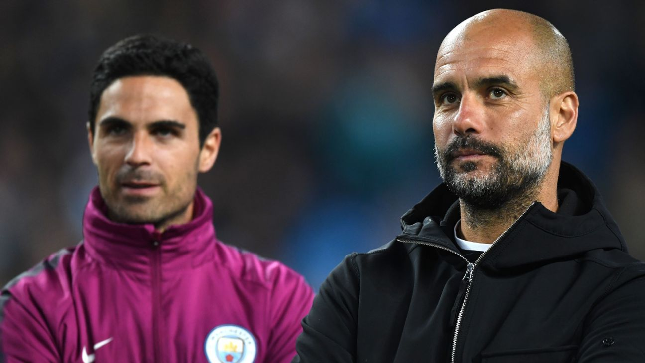 Mikel Arteta worked on Pep Guardiola's coaching staff at Manchester City during their Premier League title-winning season.