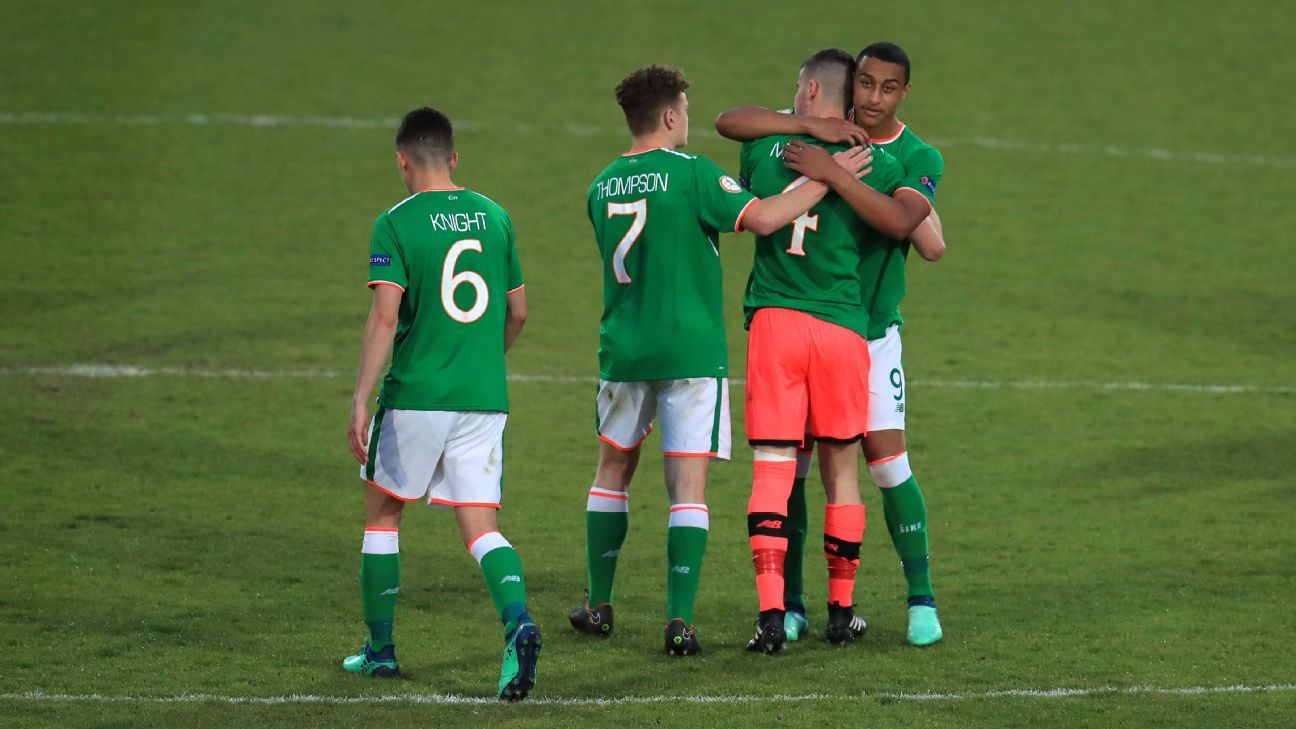 Jimmy Corcoran was sent off for Ireland.