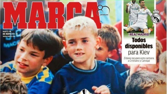 A young Antoine Griezmann appeared on the front page of Marca ahead of the Europa League final