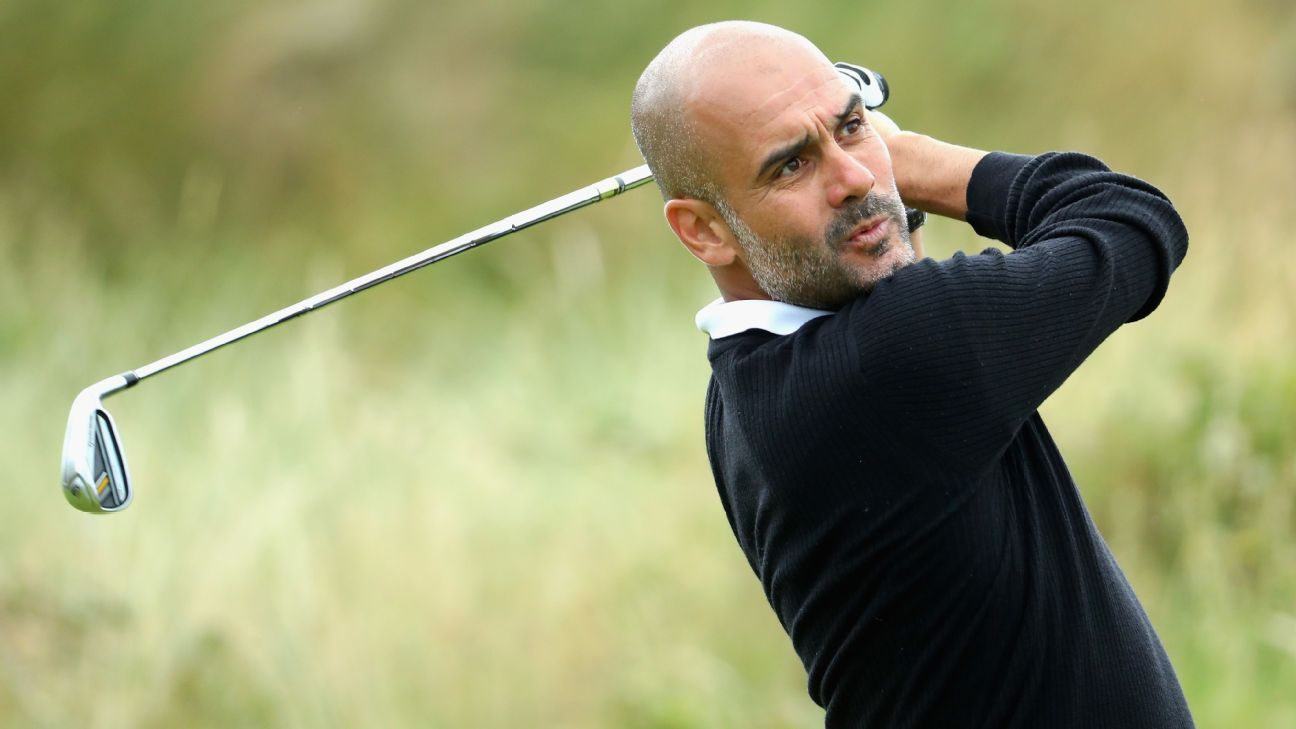 Manchester City manager Pep Guardiola in action during the Pro-Am of the Dubai Duty Free Irish Open at Portstewart