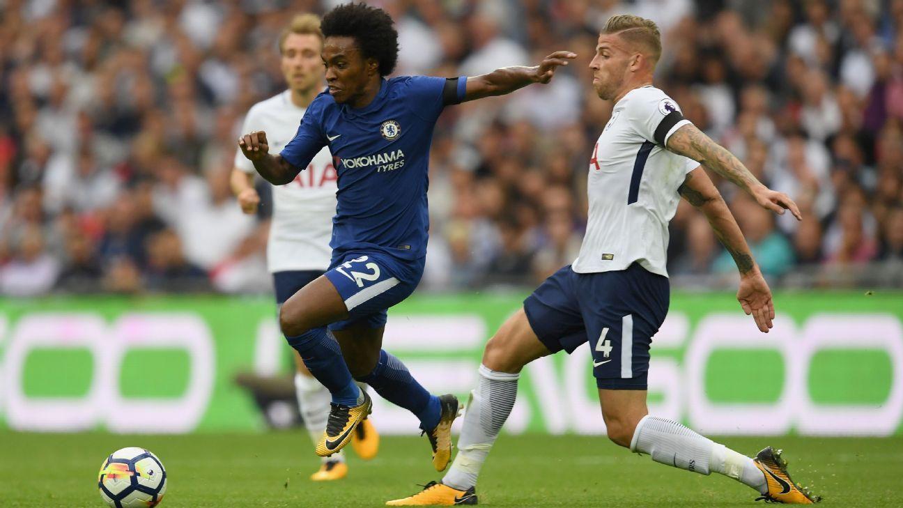 Chelsea's Willian and Tottenham's Toby Alderweireld