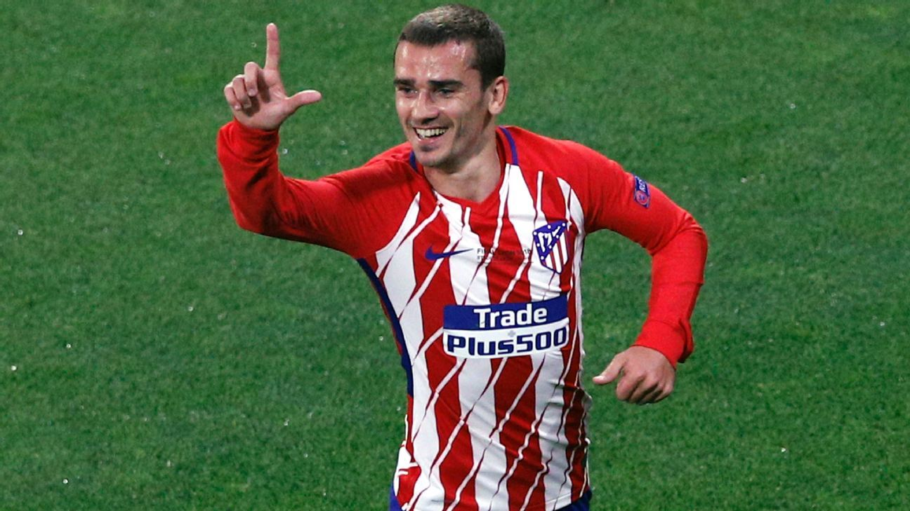 Antoine Griezmann celebrates his opener for Atletico.