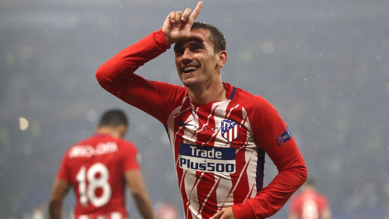 Antoine Griezmann of Atletico Madrid celebrates after scoring his team's second goal.