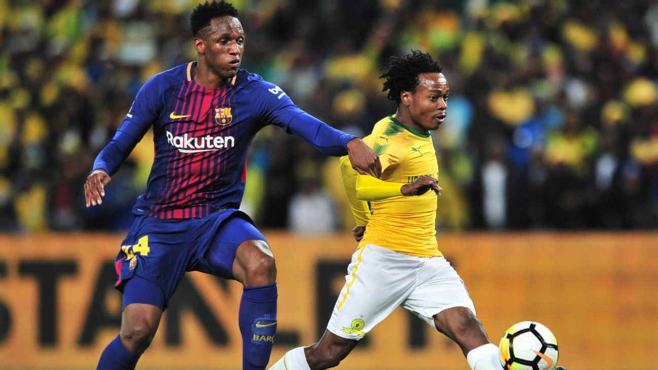 Percy Tau in action against Barcelona