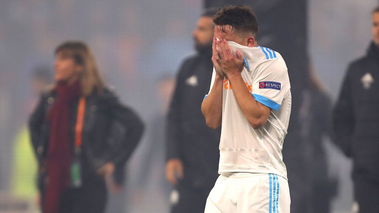 Marseille's Maxime Lopez looks dejected after losing Europa League final to Atletico Madrid