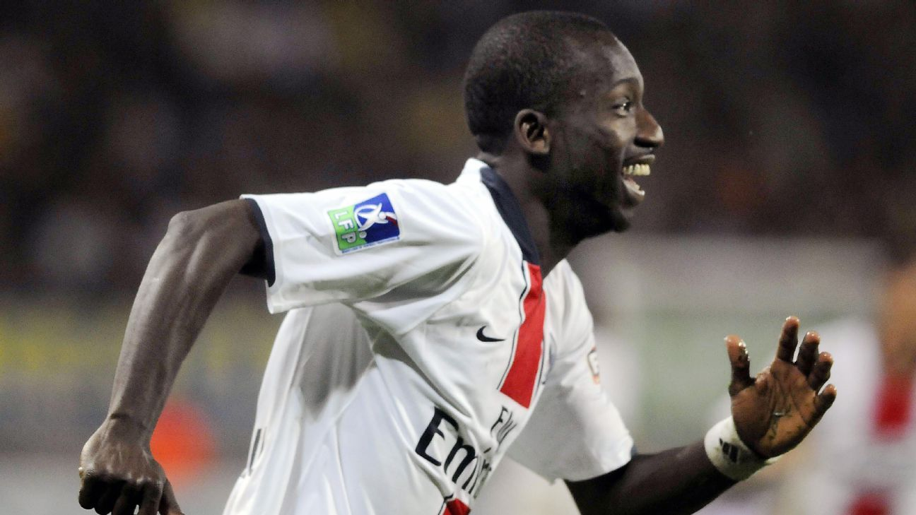 Amara Diane celebrates after his goals kept PSG from being relegated from Ligue 1 in a match at Sochaux in 2008.