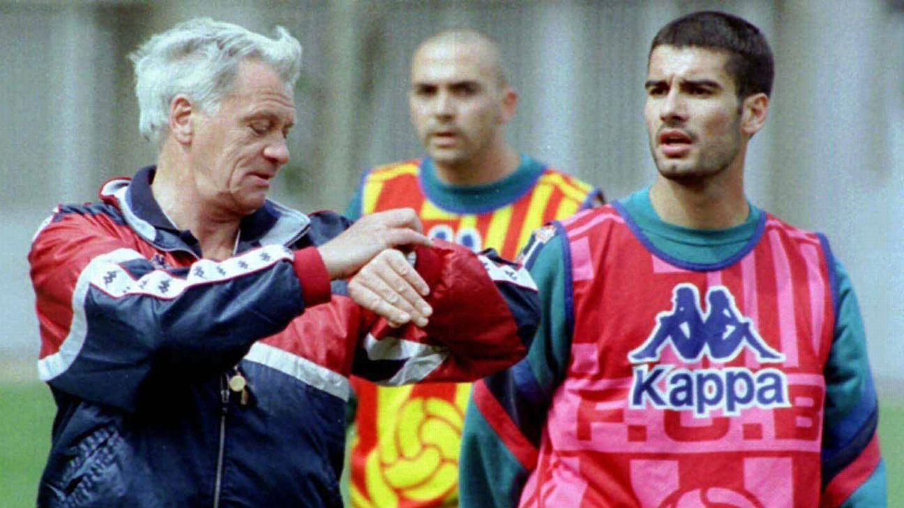 Pep Guardiola looks back on playing for Sir Bobby Robson at Barcelona and says,