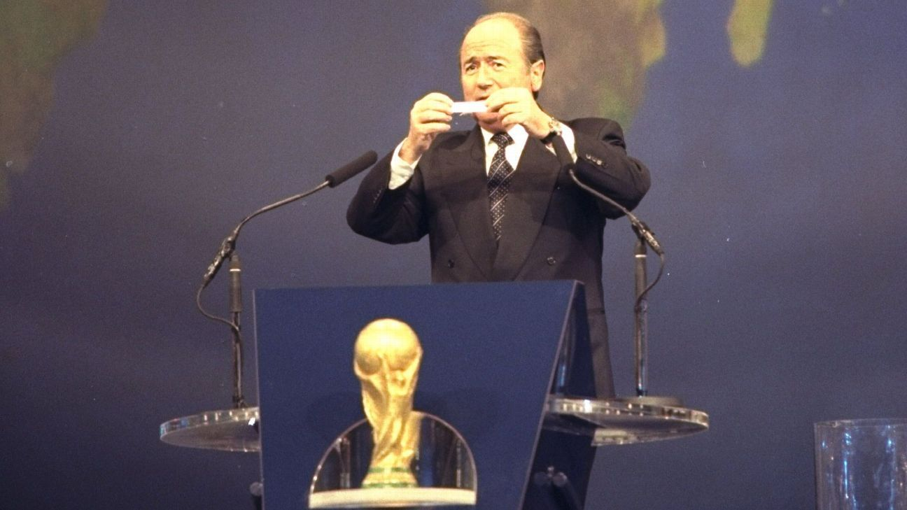Sepp Blatter, then the FIFA Secretary, makes the draw for the 1998 World Cup finals.