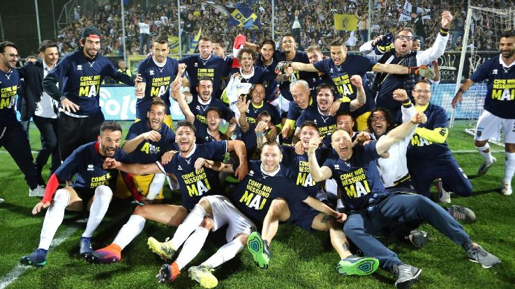 Parma players celebrate after earning promotion to Serie A on the last day of the Serie B season.