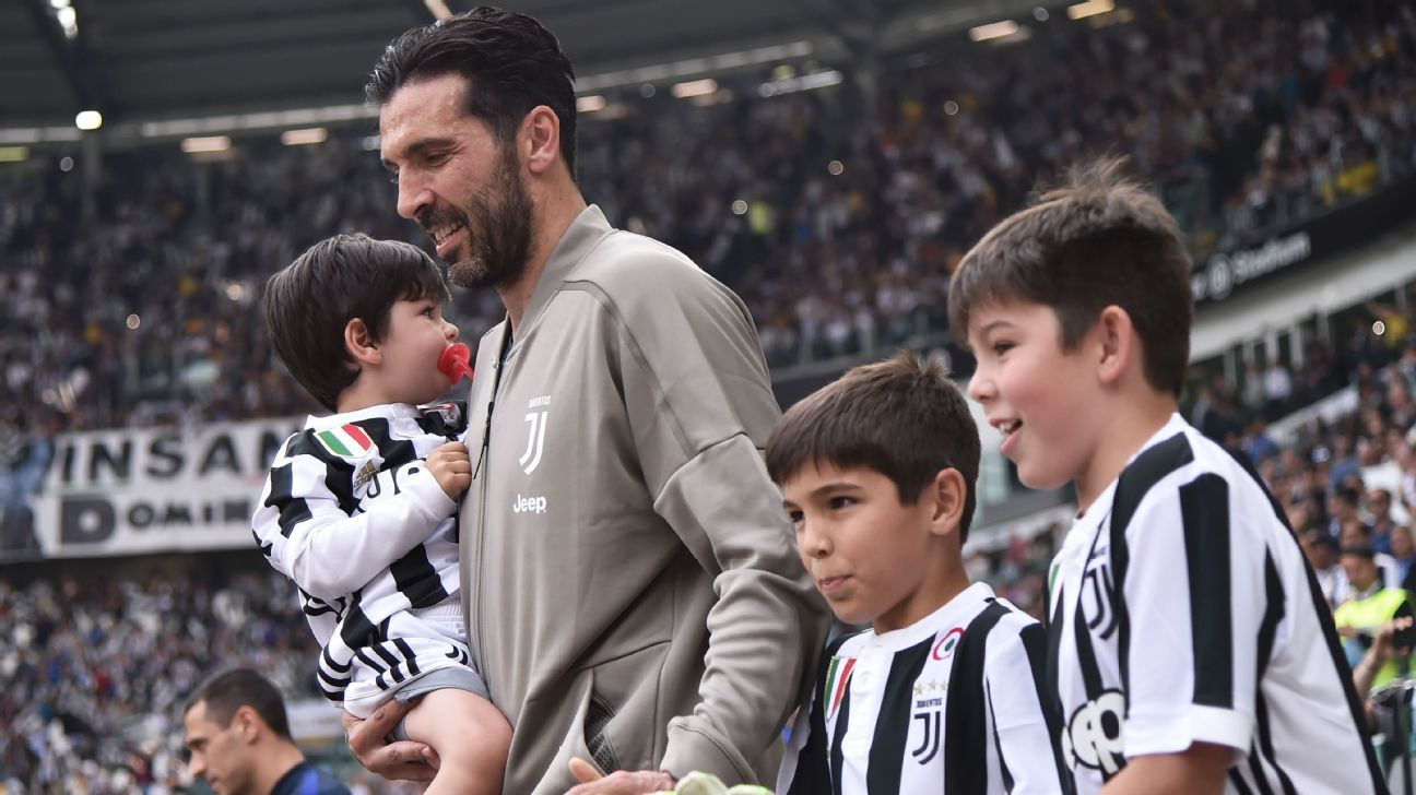 Buffon was led out by his sons ahead of the match.