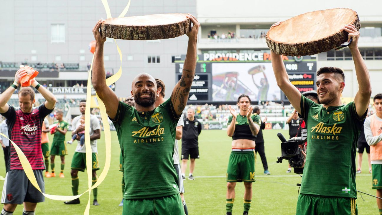 Portland Timbers' Samuel Armenteros, left, and Cristhian Paredes celebrate after beating LAFC.