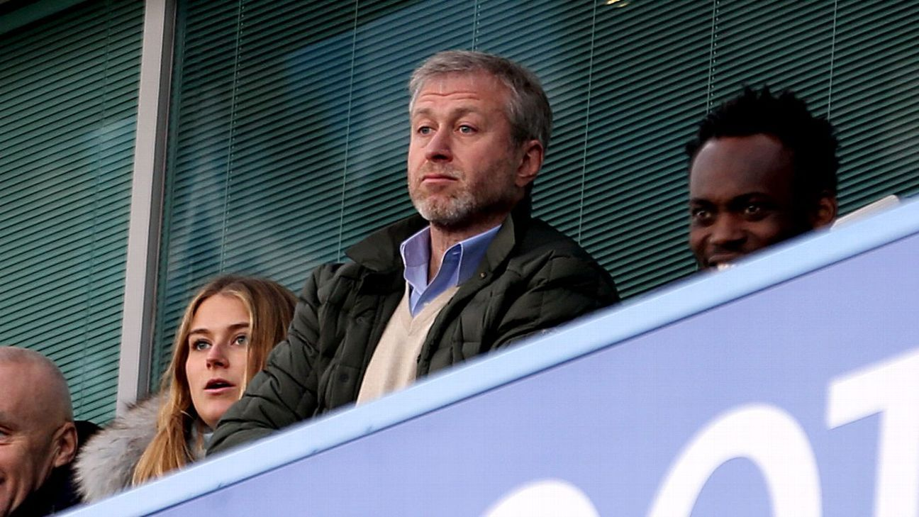 Chelsea owner Roman Abramovich watches the team play Arsenal at Stamford Bridge in 2017.
