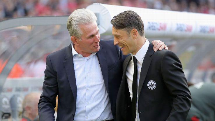 Bayern Munich coach Josef Heynckes, left, and Eintracht Frankfurt coach Niko Kovac
