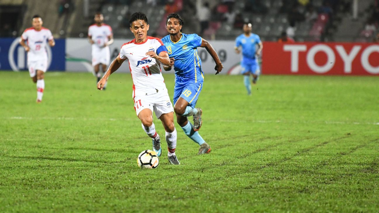 Sunil Chhetri in action against Abahani Dhaka in an AFC Cup encounter in Bangladesh.