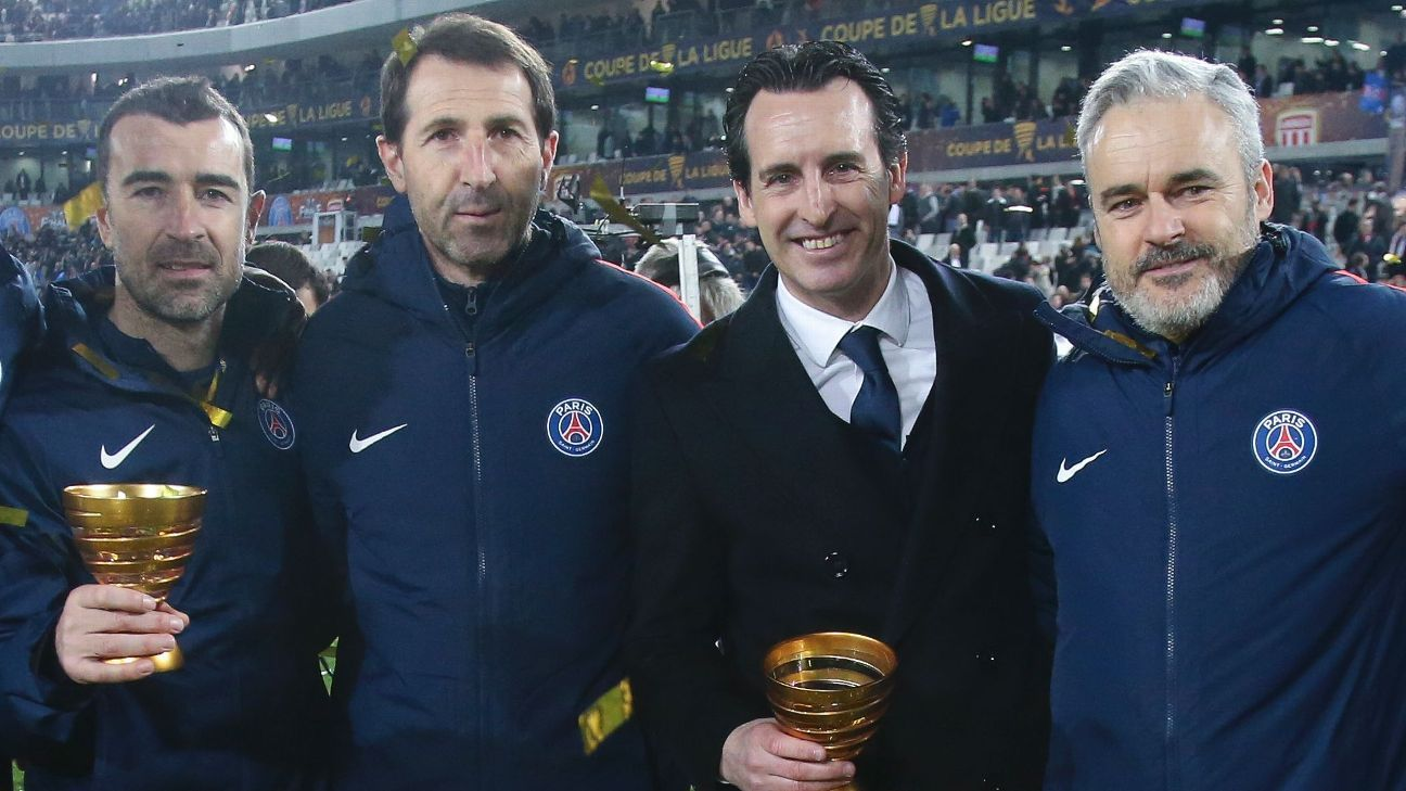 PSG coach Unai Emery celebrates Coupe de la Ligue win with Juan Carlos Carcedo, Julen Masach and Victor Manas