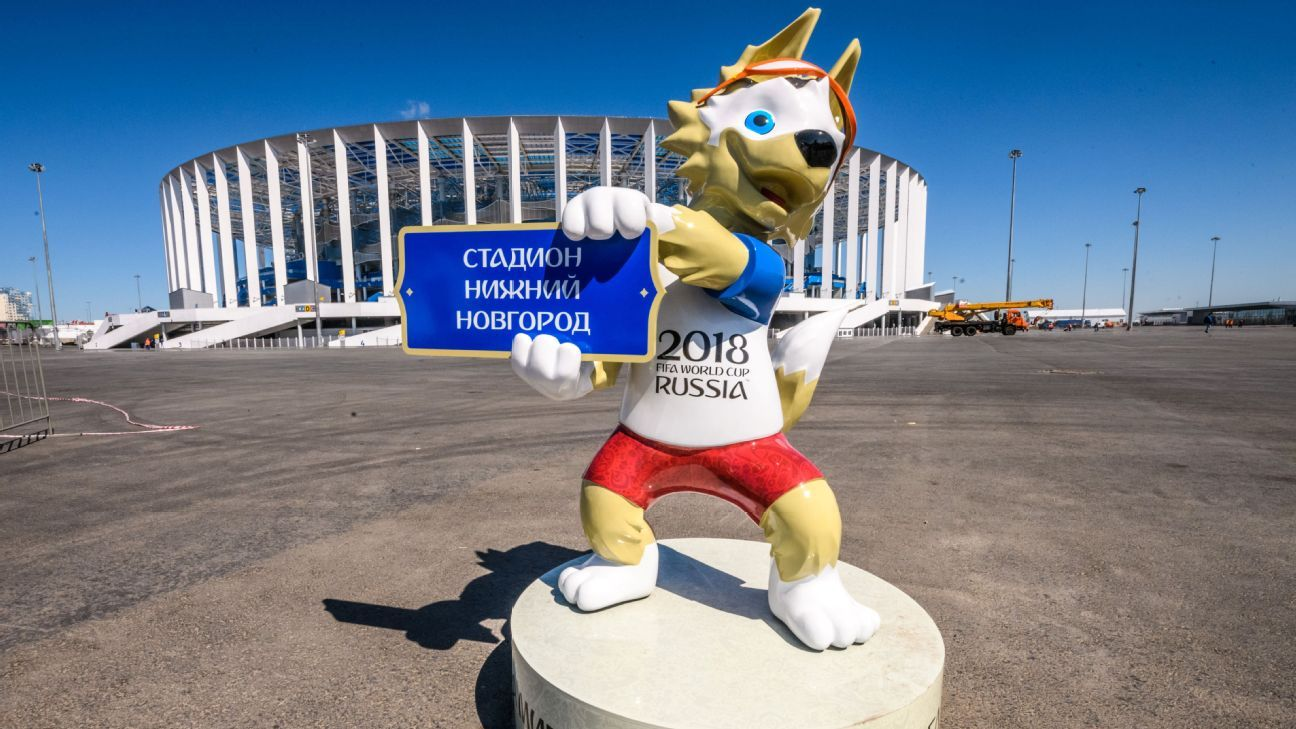 Zabivaka in front of the Nizhny Novgorod Arena, which will host four group matches, a round-of-16 game and a quarter-final.