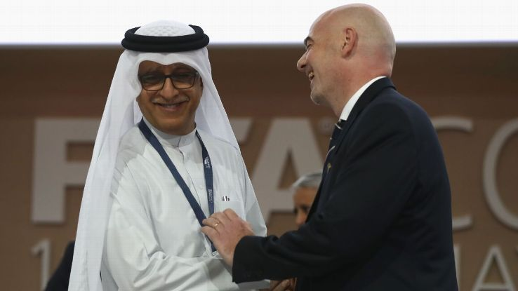 Sheikh Salman, left, tried to win the FIFA presidency but has since refocused on accumulating soft power in the Asian Football Confederation.