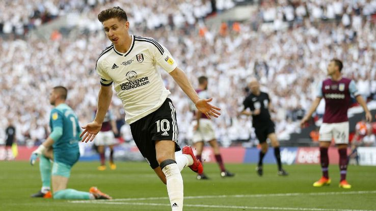 Fulham captain Tom Cairney celebrates scoring in the promotion playoff final against Aston Villa.