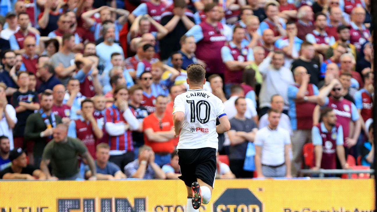 Fulham captain Tom Cairney celebrates scoring in the playoff promotion final vs. Aston Villa.