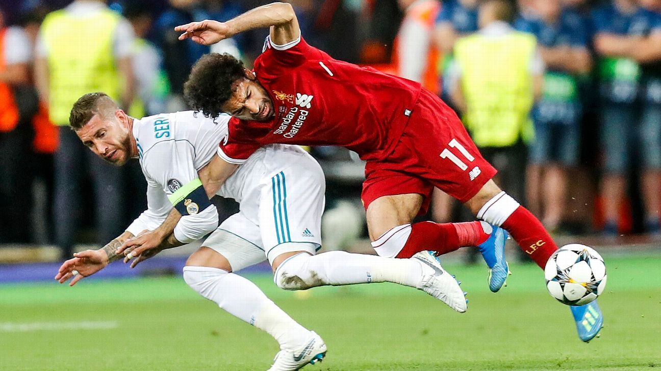 Sergio Ramos has been criticised for the tackle that brought down Mohamed Salah.