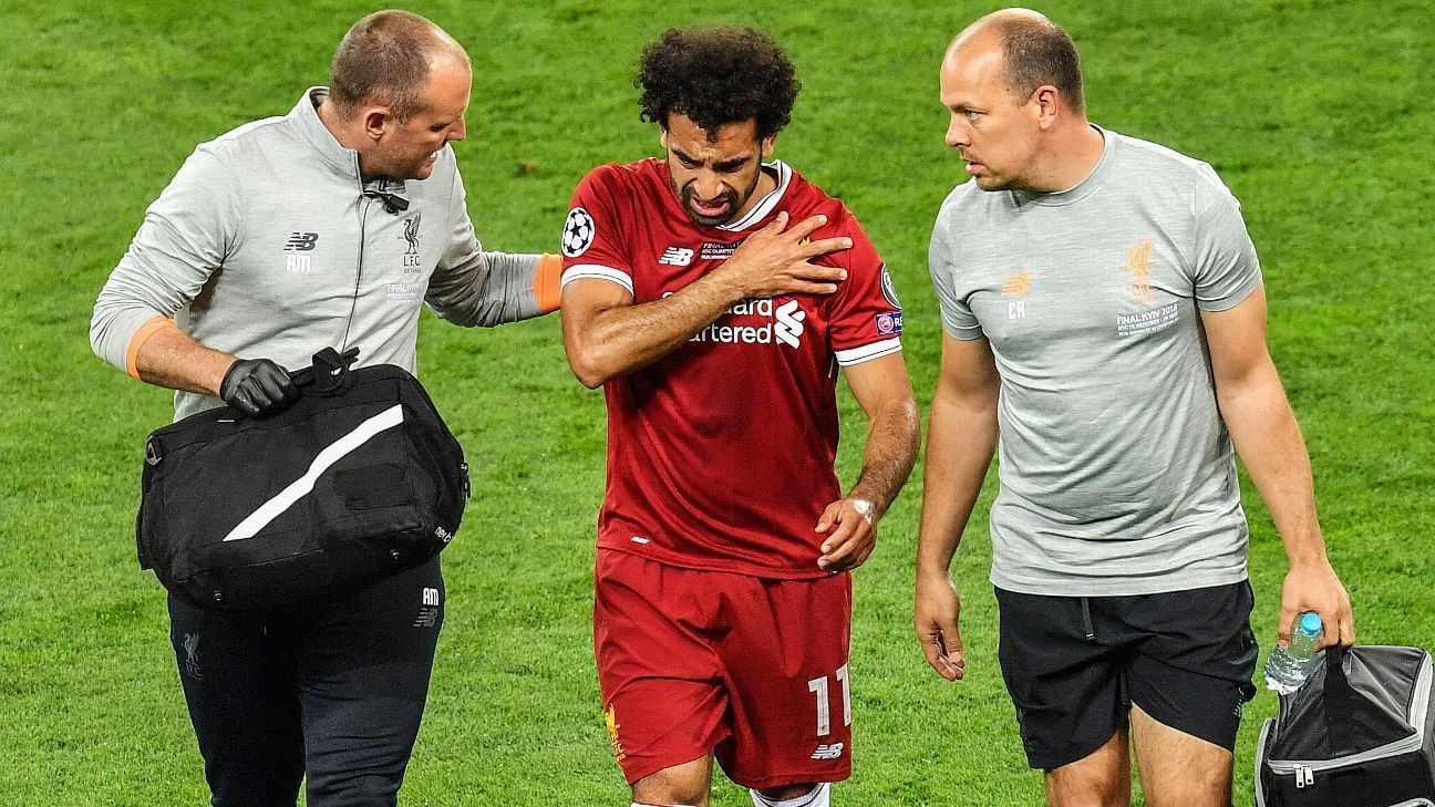 Mohamed Salah was injured after tangling with Real Madrid's Sergio Ramos in the Champions League final.