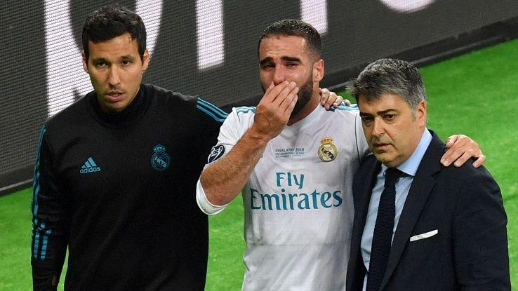Dani Carvajal departs the Champions League final through injury.