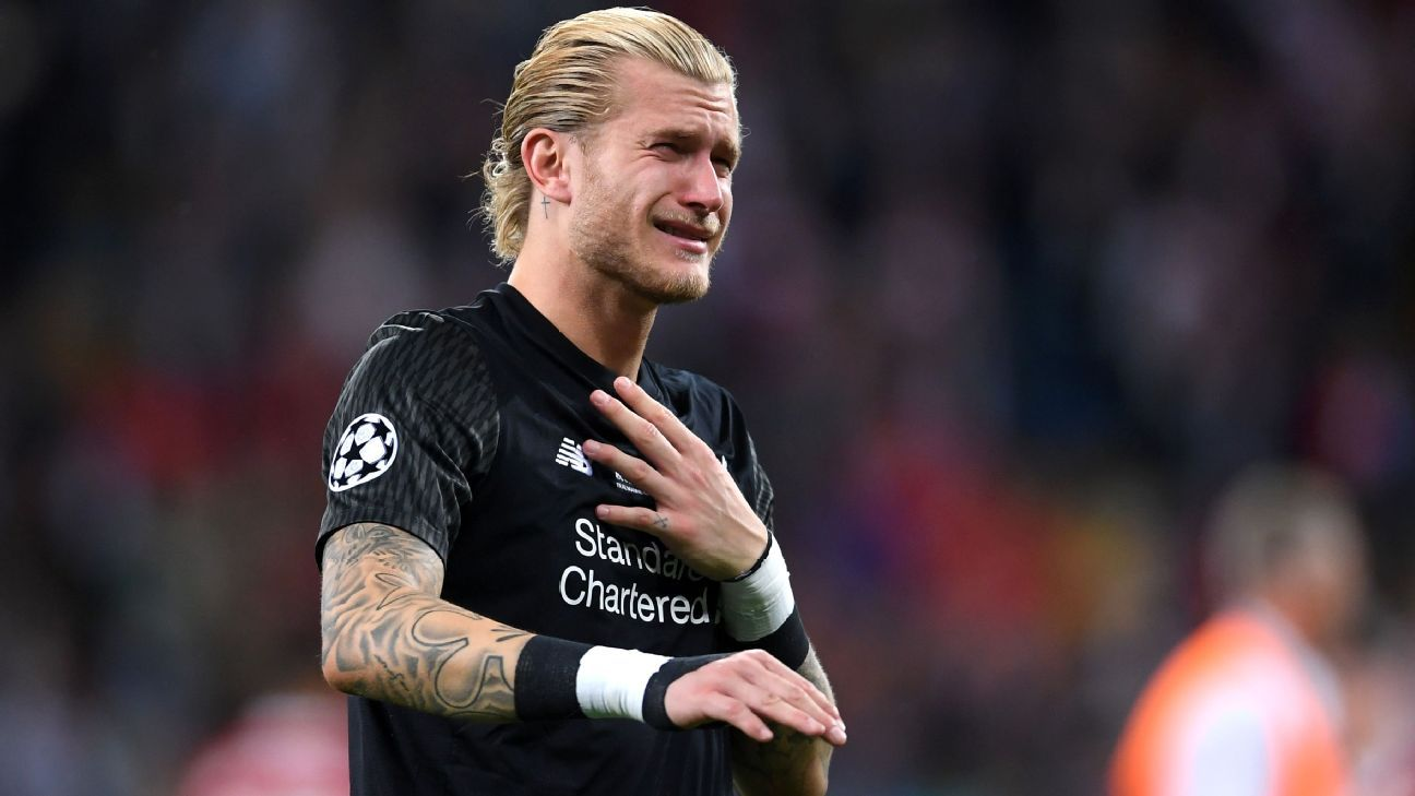 Loris Karius looks dejected following Liverpool's Champions League final defeat against Real Madrid.
