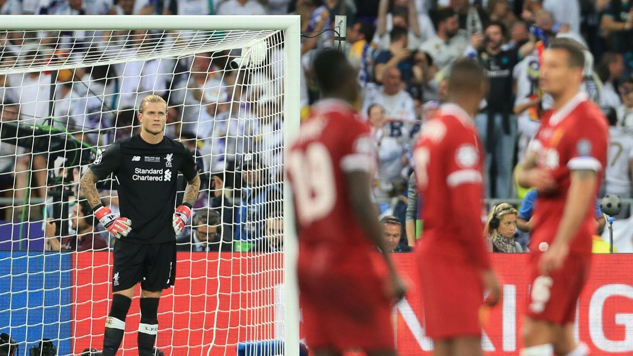 Loris Karius and his Liverpool teammates look dejected following their Champions League final defeat against Real Madrid.