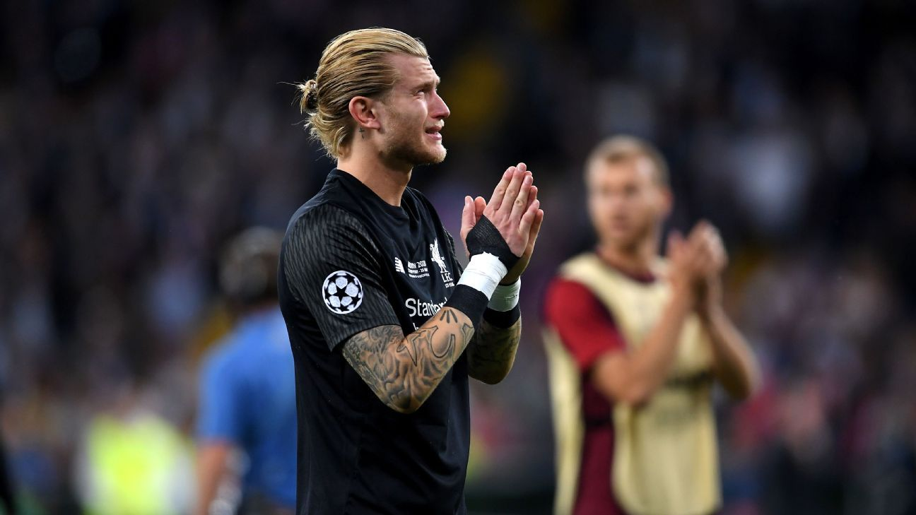 Loris Karius looks upset following Liverpool's Champions League final defeat against Real Madrid.