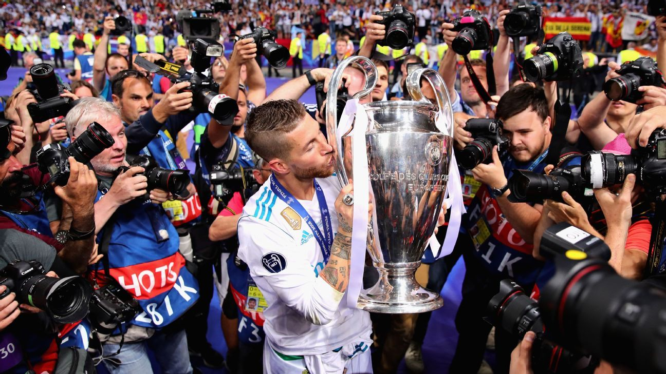 Sergio Ramos kisses the Champions League trophy after Real Madrid beat Liverpool in the final.