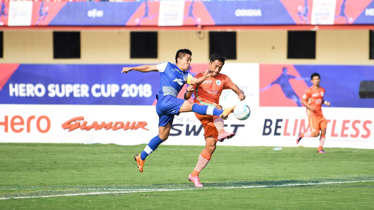 Bengaluru FC's Sunil Chhetri in action against Neroca FC in the Super Cup quarterfinal