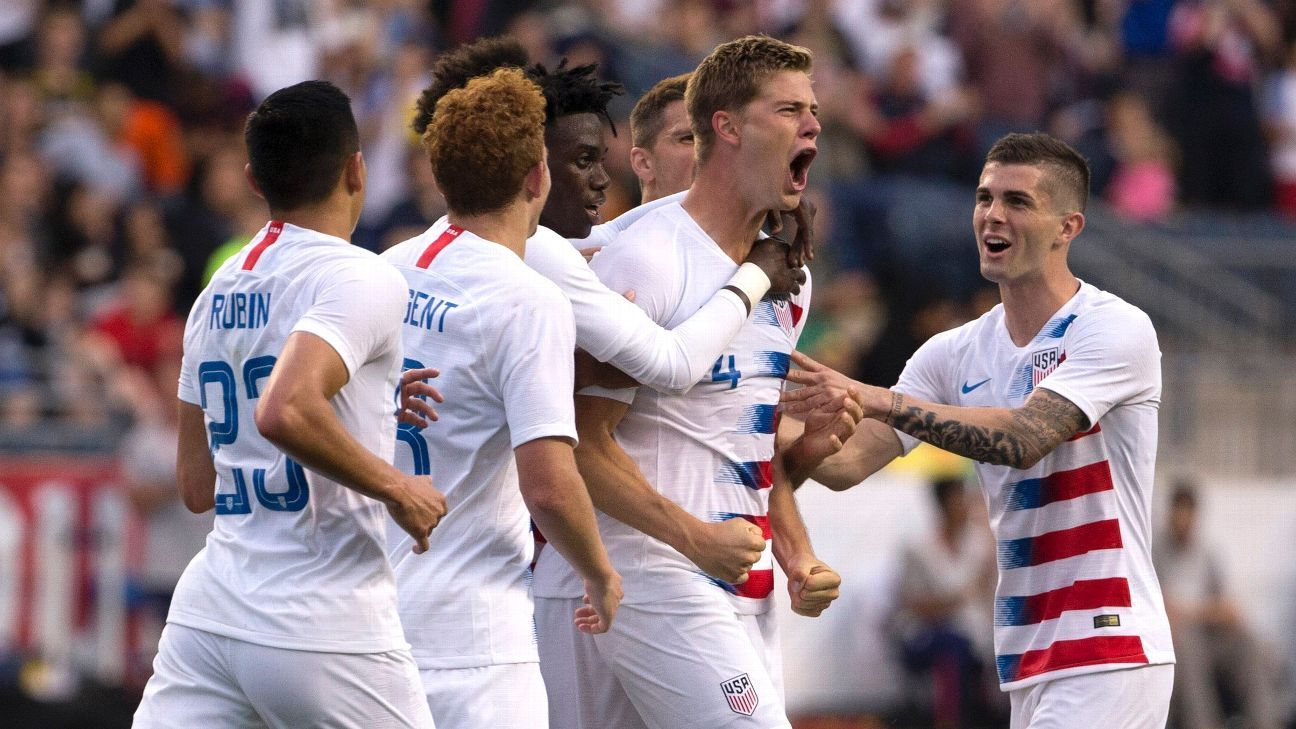 Walker Zimmerman celebrates scoring in the U.S.'s friendly against Bolivia.