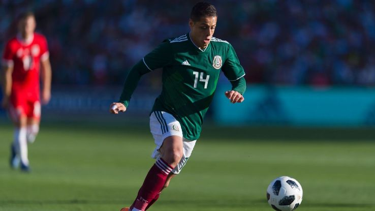 Javier Hernandez dribbles during Mexico's friendly with Wales.