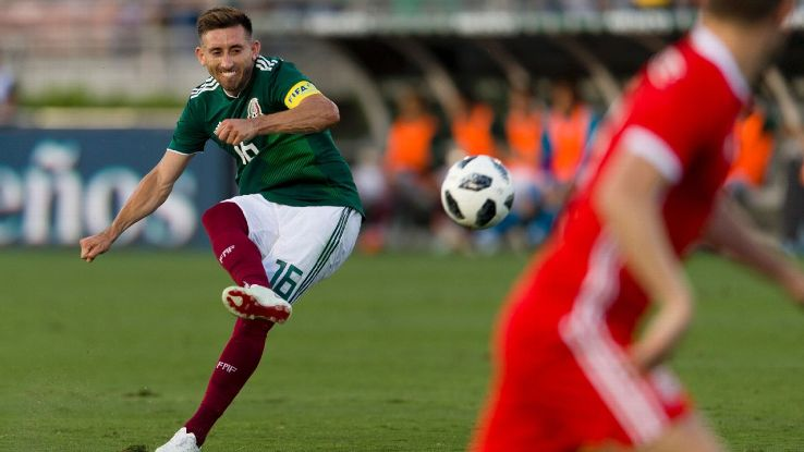 Hector Herrera shoots during Mexico's 0-0 friendly draw with Wales.